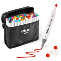 Fabric Markers Permanent 36 Colors of Ohuhu Dual Tip Fabric Paint Marker Pens for DIY Christmas Costumes, T-Shirt, Clothes, Shoes, Bags Water-Based Mother's Day Back to School Gifts