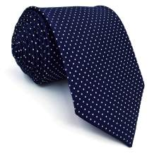 SHLAX&WING Dots Blue Navy Mens Neckties Ties for Men Silk