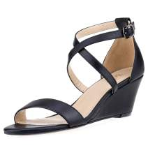 ZriEy Women's Wedge Sandals Open Toe Ankle Strap Heels 2 Inches 3 Inches Mid High Heel Pump Shoes