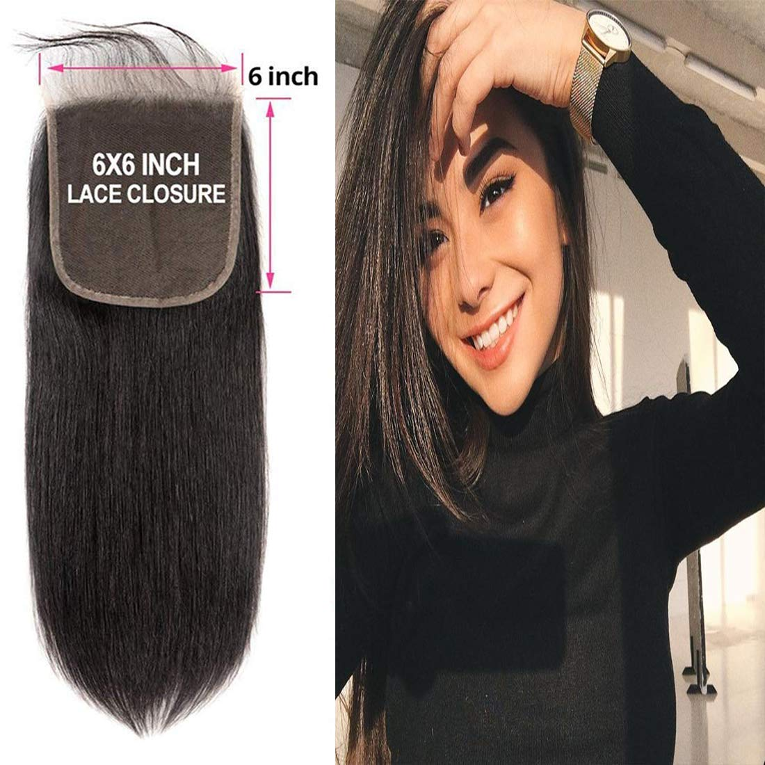 Straight 6x6 Closure Lace Front Free Part With Baby Hair Preplucked Bleached Knots 100% Brazilian Unprocessed Virgin Remy Human Hair Natural Hairline Sew In Hair Extensions Wet And Wavy 1b(22 inch)