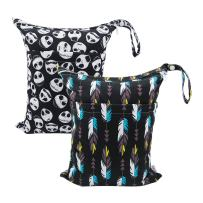 ALVABABY 2pcs Cloth Diaper Wet Dry Bags Waterproof Reusable with Two Zippered Pockets Travel Beach Pool Daycare Soiled Baby Items Yoga Gym Bag for Swimsuits or Wet Clothes L35132