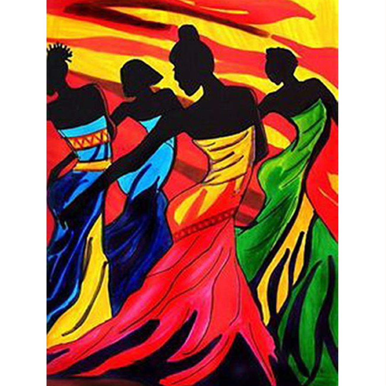 5D Diamond Painting African Women Dancing in The Sunset Full Drill by Number Kits, SKRYUIE DIY Rhinestone Pasted Paint with Diamond Set Arts Craft Decorations (12x16inch)