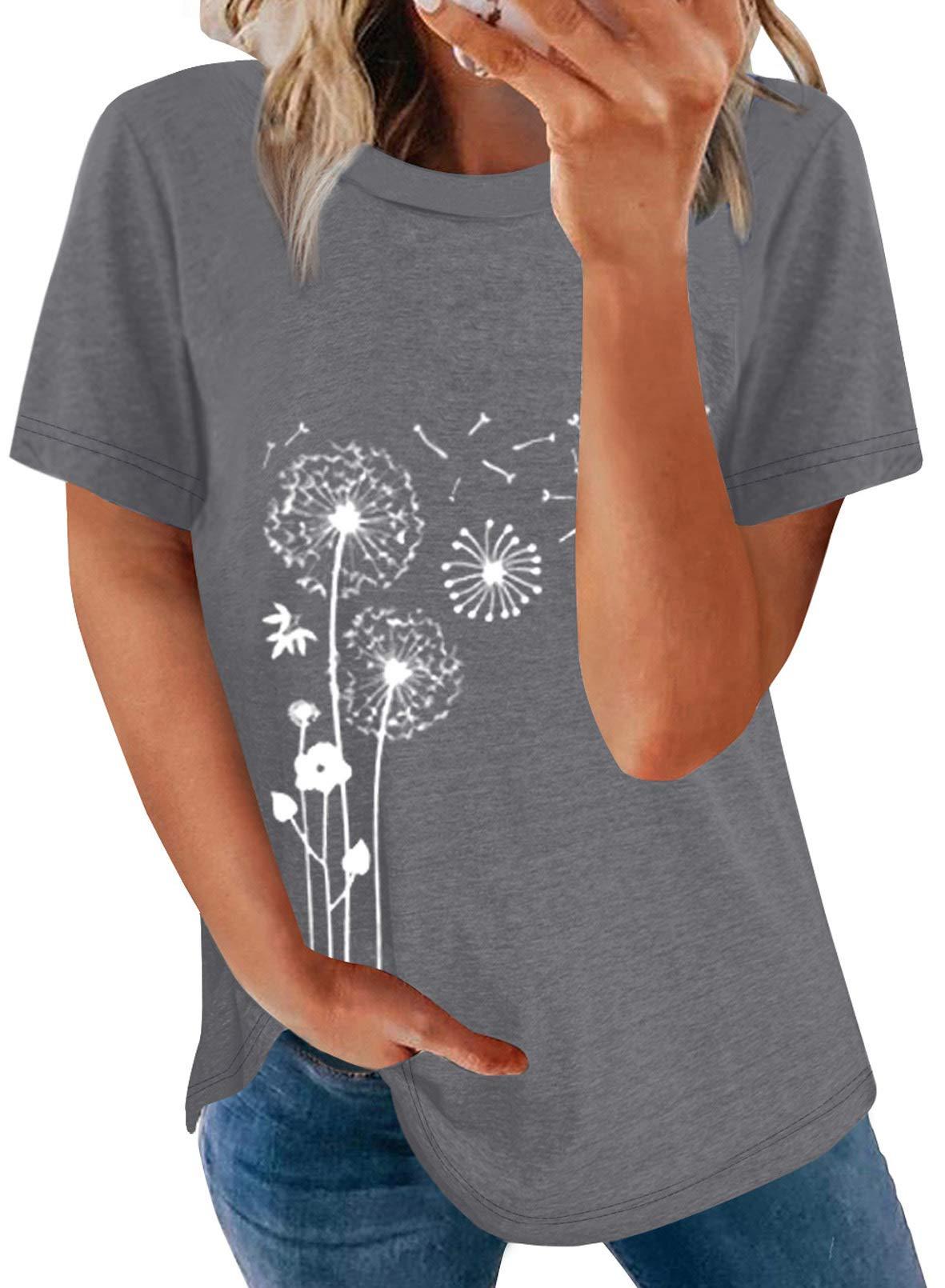 FARYSAYS Womens Summer Graphic T Shirt Tops Crewneck Short Sleeve Tee Tunic Blouse