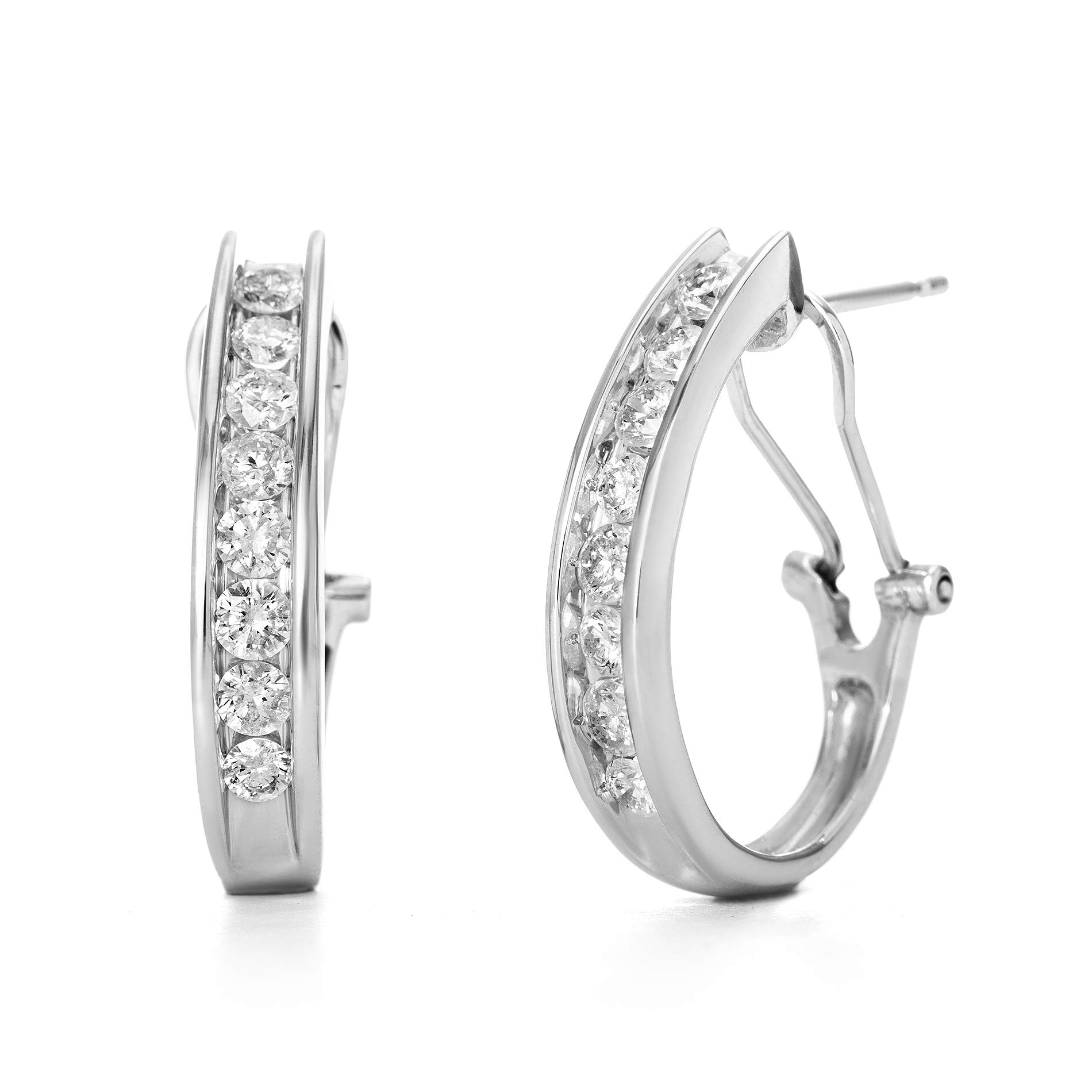 Devin Rose 10K White Gold Channel Set 1 Cttw Diamond Hoop Earrings for Women (IJ Color I2 Clarity IGL Certified)