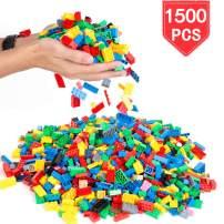 PROLOSO 1500 Piece Building Blocks Bulk 12 Shapes Colorful Educational Mass Pack
