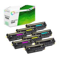 TCT Premium Compatible Toner Cartridge Replacement for HP 508A CF360A CF361A CF362A CF363A Works with HP Laserjet Enterprise M552 M553 M577 Printers (Black, Cyan, Magenta, Yellow) - 8 Pack