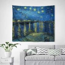 Baccessor Vincent Van Gogh Tapestry Wall Hanging Abstract Art Rustic Home Decor for Living Room Bedroom College Dorm Apartment, 60 W x 51 L Inches, Starry Night Over The Rhone