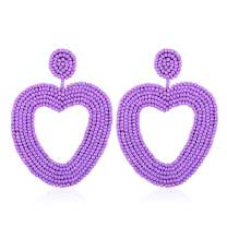 VICISION 2019 7 Color Statement Beaded Earrings, Drop Dangle Heart Hoop Earrings for Women Novelty Fashion Summer Accessories - 1 Pair with Gift Box