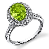 Peridot Halo Milgrain Ring Sterling Silver 2.00 Carats Sizes 5 to 9