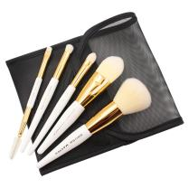 Mini Travel Makeup Brush Set 5 Pcs Mini Makeup Brushes With Synthetic Hairs Contains VITAMIN C Includes Powder Foundation Concealer Small Eyeshadow Brush And Eyebrow and Eyelash Comb