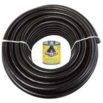 """HYDROMAXX (1"""" Dia. x 25 ft) Black Flexible PVC Pipe, Hose and Tubing for Koi Ponds, Irrigation and Water Gardens. Includes Free 4oz Can of Hot Blue PVC Gorilla Glue"""