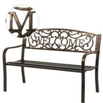 Garden Bench Outdoor Bench for Patio Metal Bench Park Bench Cushion for Yard Porch Work Entryway (Bronze)