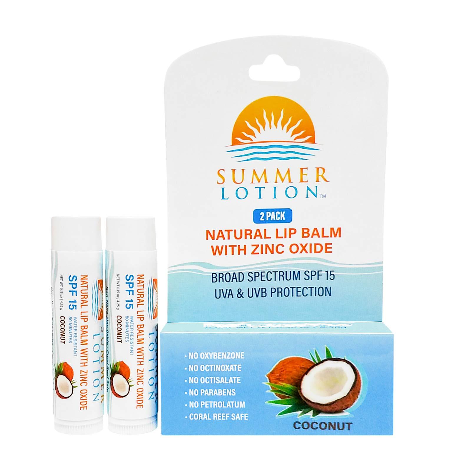 Summer Lotion - Natural Lip Balm with Zinc Oxide Sunblock, SPF 15 Lip Sunscreen, Coconut Flavor, (2-Pack)