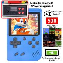 DigitCont Retro Mini Handheld Arcade, Built-in with 500 Classic Games 2 Players Mode Miniature Console Handheld Portable Game Cabinet Machine Rechargeable Battery Inside Support Connect TV Blue