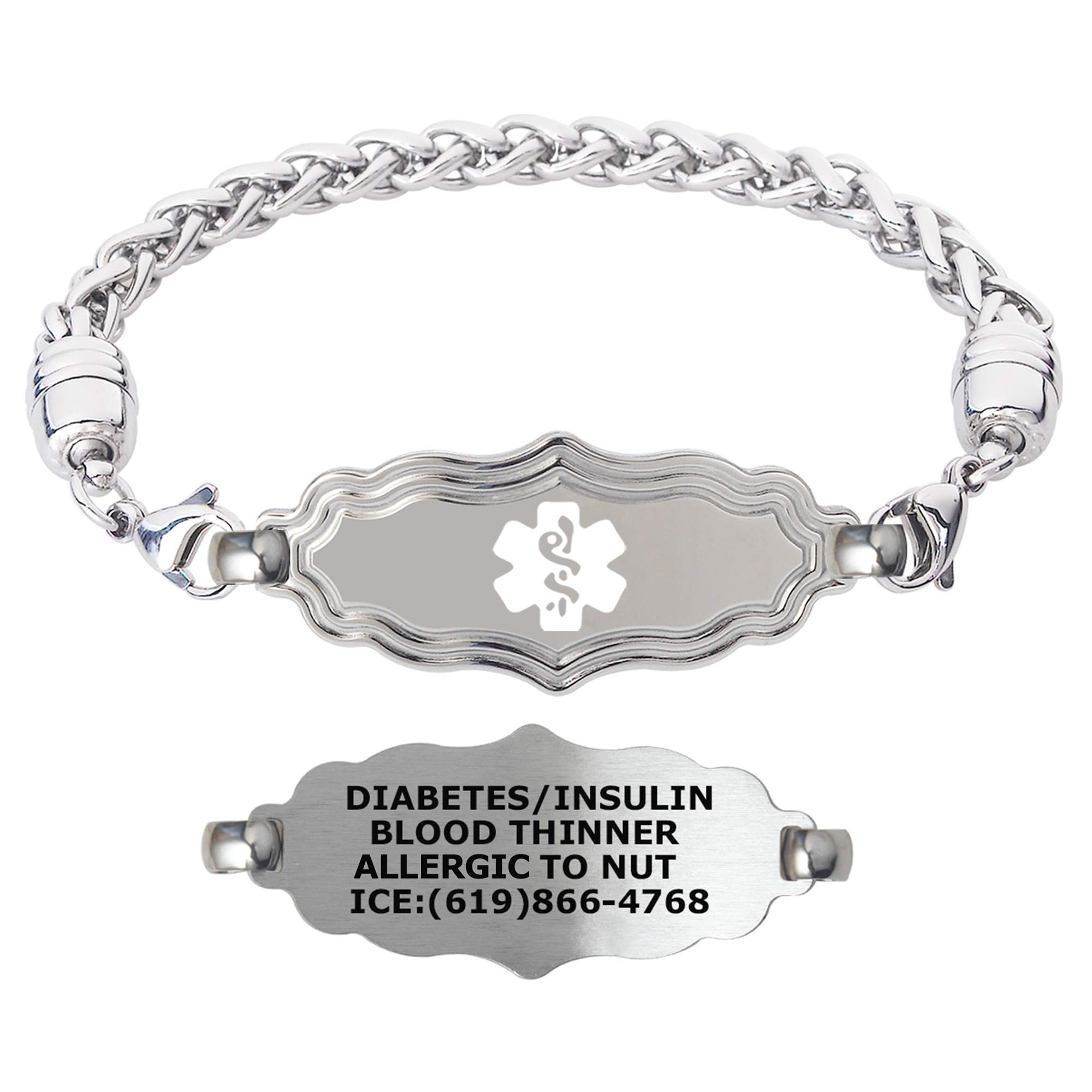 Divoti Custom Engraved Medical Alert Bracelets for Women, Stainless Steel Medical Bracelet, Medical ID Bracelet w/Free Engraving – Victorian Art Deco Tag w/Wheat – Color/Size