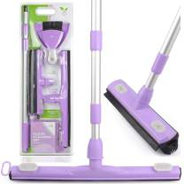 Anoda 2 Pack Push Broom Set with a 17 inch Shower Floor Squeegee Broom, a 13 inch Rubber Broom Pet Hair Carpet Rake and a 59 inch Handle. Kitchen broom and dustpan set with bonus microfiber cloth.