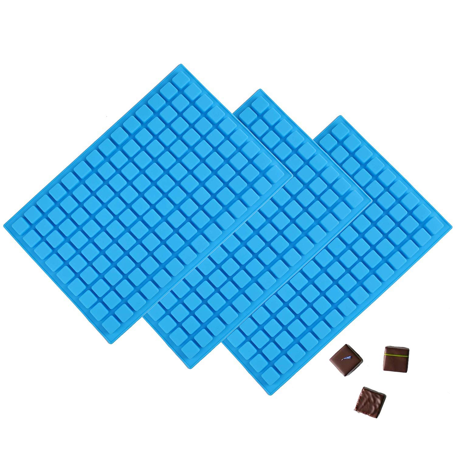 Fasmov 3 Pieces 126-Cavity Square Silicone Mold Mini Candy Molds Ice Cube Tray for Chocolate Gummy Ice Cube Jelly Truffles Pralines Caramels Ganache