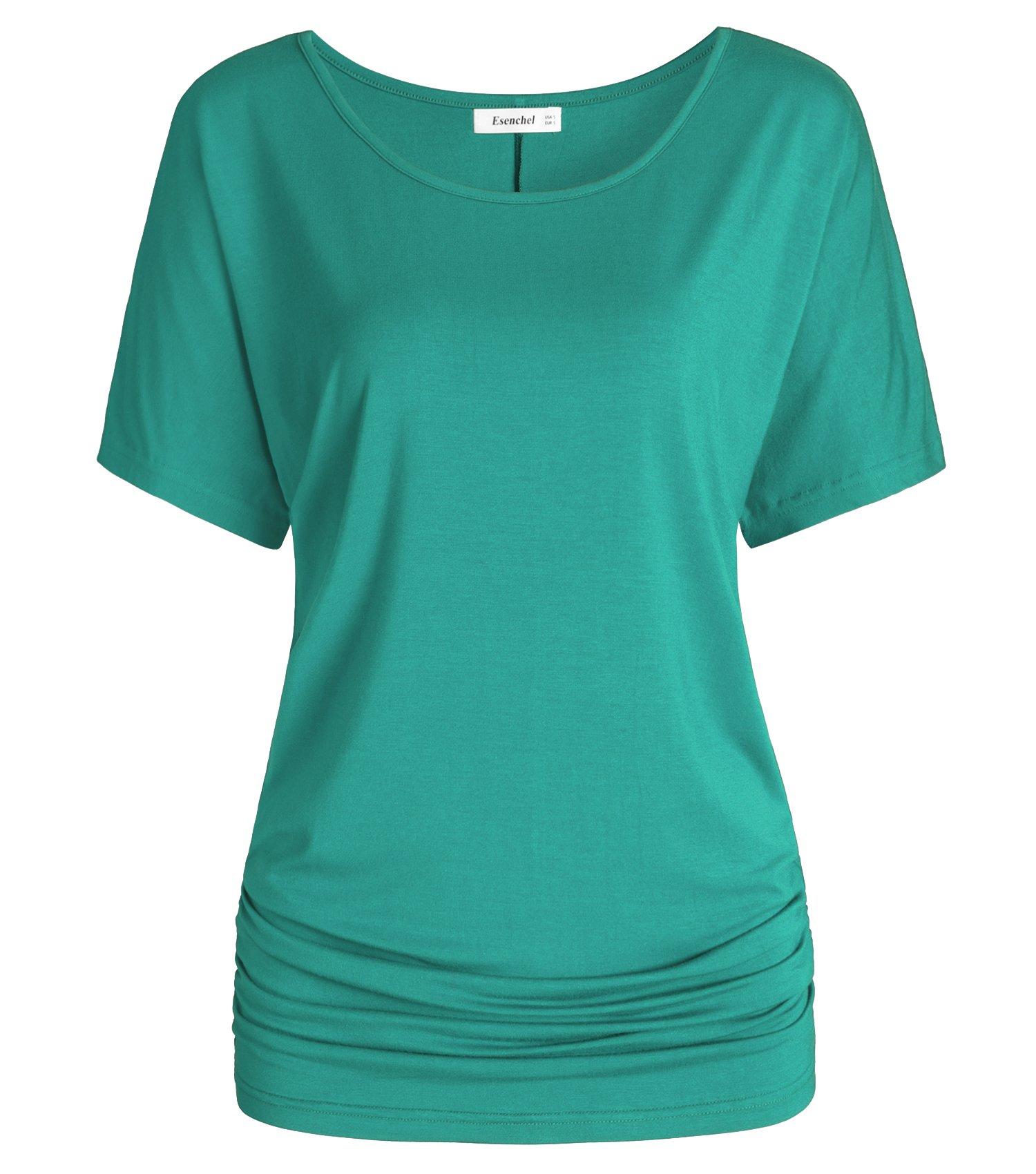 Esenchel Women's Short Sleeves Dolman Top Scoop Neck Drape Shirt