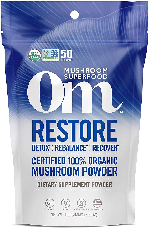 Om Organic Mushroom Superfood Powder, Restore: Detox Recovery, 3.5 Ounce (50 Servings), Cordyceps & Reishi, Immune Support Supplement