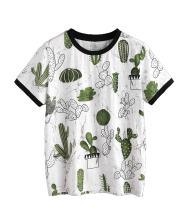 Verdusa Women's Summer Short Sleeve Cute Cactus Print Tunic T-Shirt Tops