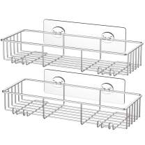 SMARTAKE 2-Pack Shower Caddy, Rustproof Bathroom Shelf Organizer with Hooks for Hanging Razor Sponge Brush, SUS304 Stainless Steel Wall Rack for Dorm, Toilet, Bath and Kitchen, Silver