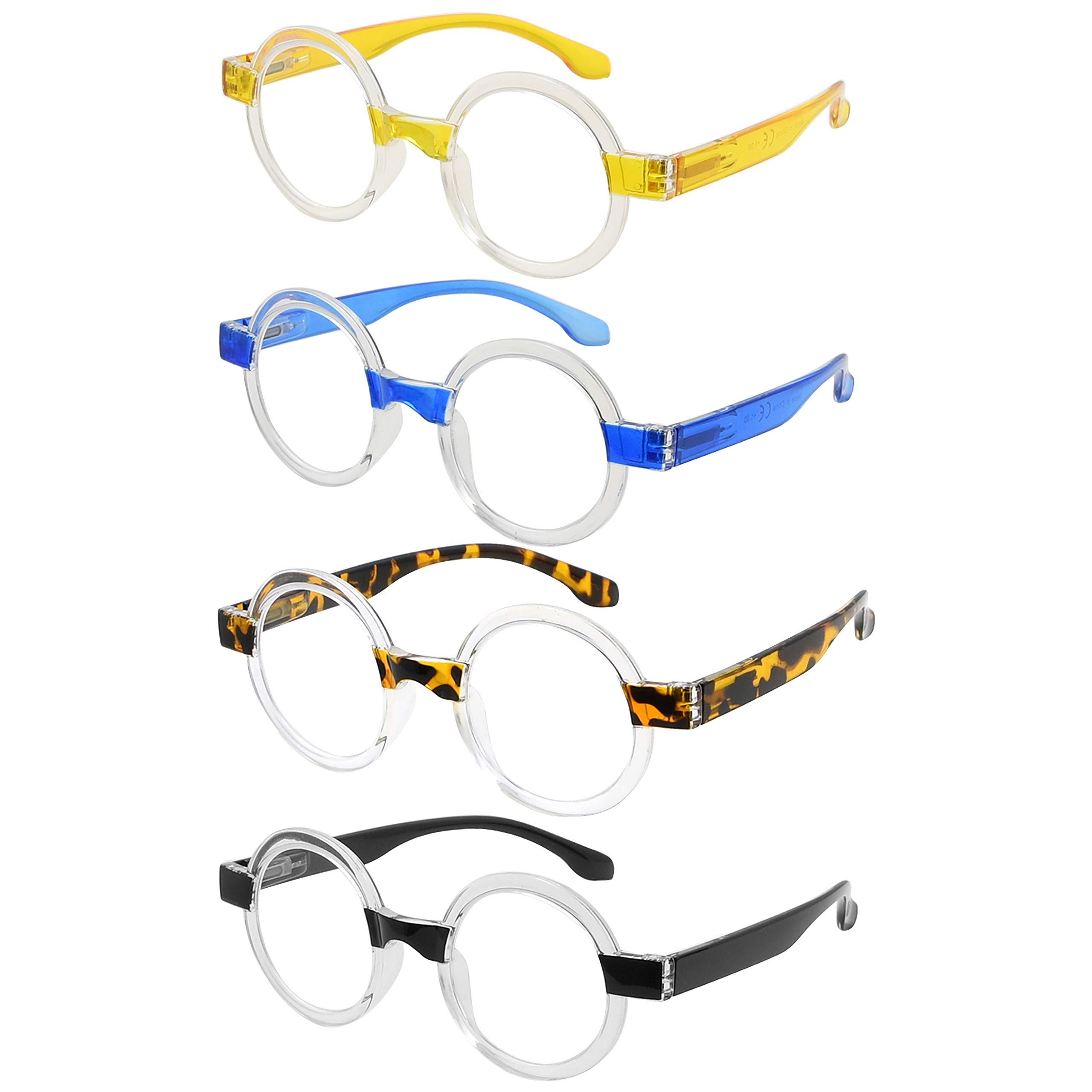 Eyekepper 4-Pack Round Reading Glasses Women Oprah Style Readers