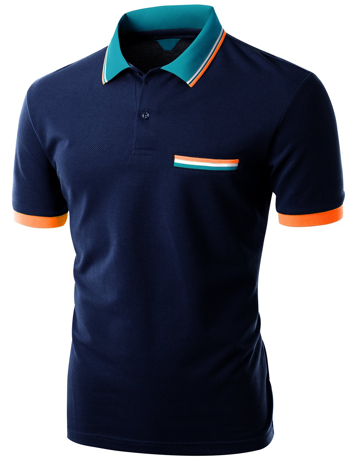 Xpril Color Effect Collar Short Sleeve Polo T Shirt Navy Size M