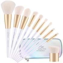 BESTOPE Makeup Brushes with Shiny Case Mermaid Holographic Premium Synthetic Cosmetics Contour Brushes Kabuki Foundation Face Powder Nasal Eyeshadow Angled Detail Brushes Make up Brushes (10 Pcs)