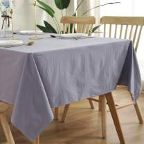 Bringsine Washable Cotton Linen Solid Design Tablecloth,Rectangle Table Cloth Cover for Kitchen Dinning Tabletop Buffet Decoration(Rectangle/Oblong, 55 x 86 Inch,Grey)