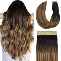 Doores 20pcs 50g Hair Extensions Tape in Ombre Dark Brown to Chestnut Brown and Dirty Blonde Tape in Human Hair Extensions Real Hair Glue in Extensions Straight 16 Inch