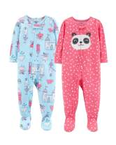 Carter's Baby Girls' 2-Pack Cotton Footed Pajamas (5T, Blue Castle/Pink)