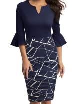 WOOSUNZE Womens Flounce Bell Sleeve Office Work Casual Pencil Dress