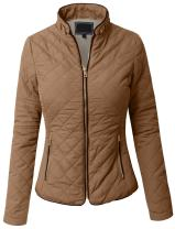 NE PEOPLE Womens Lightweight Quilted Faux Fur Lining Zip Jacket