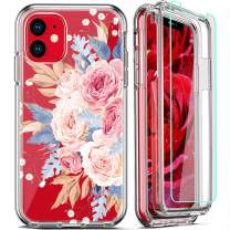 FIRMGE for iPhone 11 Case, with 2 x Tempered Glass Screen Protector 360 Full-Body Coverage Hard PC TPU Silicone 3 in 1 Military Grade Shockproof Floral Design Phone Protective Cover- Clear Flower 013