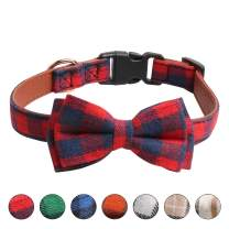 Ausget Dog Bowtie, Leather Collar with Bow Tie Light Plastic Buckle Plaid Collar for Dogs Cats Pets Gift Soft and Comfortable, Adjustable Grid Collars for Small Medium Large Dogs (Red, Small)
