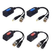 Sinloon 2 Pair Passive Video HD-TVI/CVI/AHD Balun 1080P - 5MP BNC to RJ45 Long Distance Network Transceiver for Full HD Security Surveillance Camera (BNC to RJ45 Adapter Small)