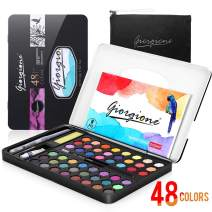 AGPTEK 48 Watercolor Paint Sets, 48 Watercolor Palette in Tin Box, Easy Mixed and Fast Dried, Portable Watercolor Painting Set for Beginners, Professional Artists and Kids