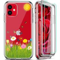 FIRMGE for iPhone 11 Case, with 2 x Tempered Glass Screen Protector 360 Full-Body Coverage Hard PC TPU Silicone 3 in 1 Military Grade Shockproof Floral Design Phone Protective Cover- Clear Flower 010