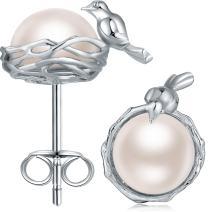 ZowBinBin Handpicked Freshwater Cultured White Pearl Stud Earrings for Women Girls - 925 Sterling Silver Bunny Rabbit Stud Earrings Hypoallergenic Cat Stud Earrings(Safe for Sensitive Ears)