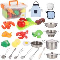 Tuptoel 30PCS Kitchen Pretend Play Toys, Quality Stainless Steel Cookware, Pots Pans Set, Cookware Utensils, Apron & Chef Hat, Cutting Vegerables for Kids, Girls 3 4 5 6+
