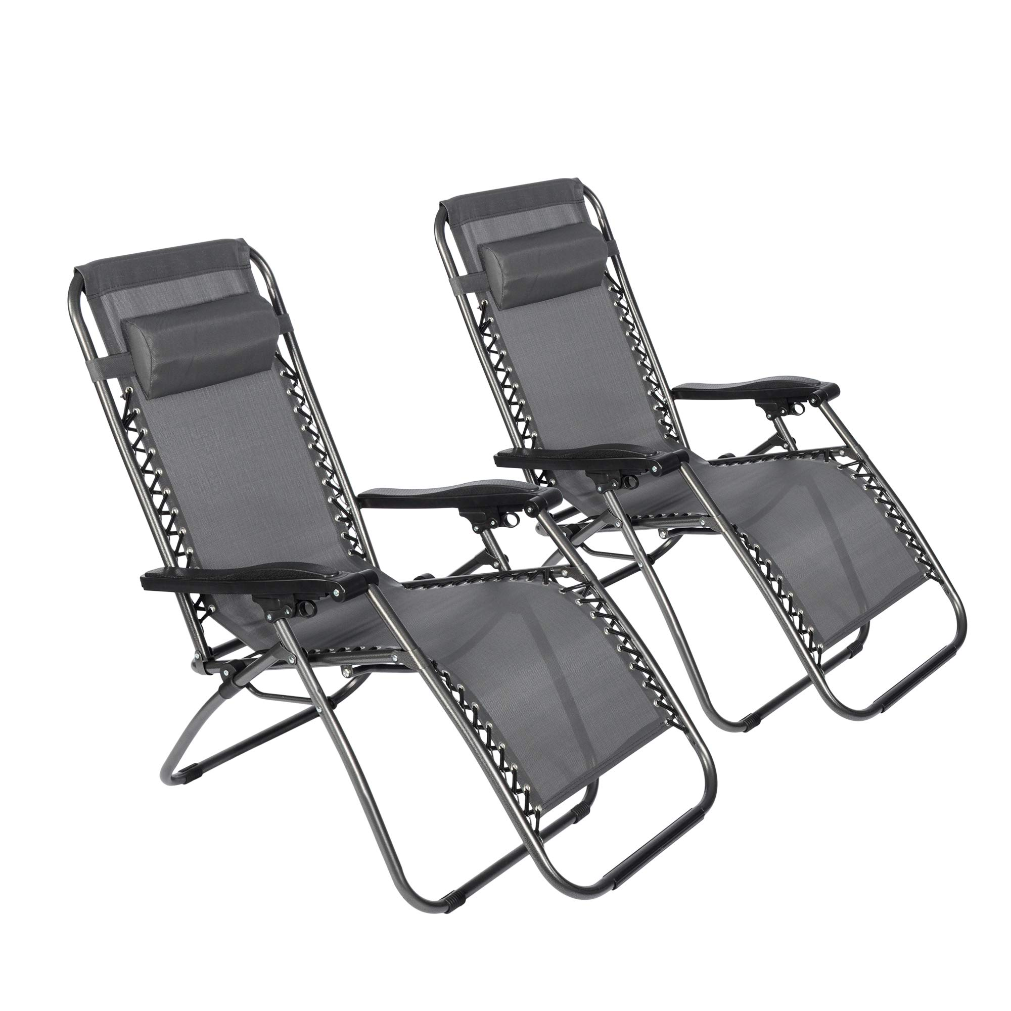LUCKYERMORE Zero Gravity Chair 2-Pack Outdoor Patio Lawn Chairs Folding Portable Adjustable Chaise Lounge Recliners, Grey