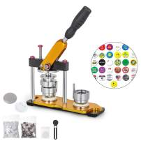 VEVOR Button Maker 37mm Badge Machine with 200 Sets Circle Button Parts Rotate Button Badge Maker Punch Press Machine for DIY Badges