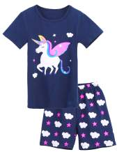Girls Pajamas Short Sleeve 100% Cotton Summer Kids Toddler Cartoon Pjs Clothes Shirts Sleepwear Sets 2-10 Years