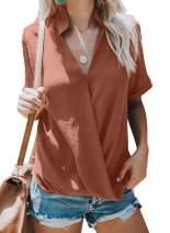 Elapsy Womens Casual Summer Short Sleeve Drape Wrap V Neck Chiffon Blouses Tops Shirts