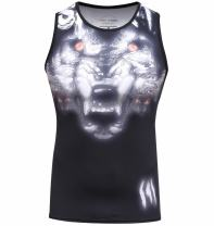 Red Plume Men's 3D Print Tank Tops Work Out Sleeveless Summer Casual Compressiom Shirt Wolf Head Totem Printing Sport Vest