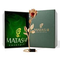 Matashi Double Rose Crystal Studded Flower Ornament Dipped in 24K Gold