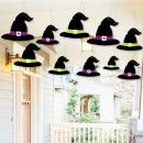 Big Dot of Happiness Hanging Happy Halloween - Outdoor Witch Hats Hanging Porch and Tree Yard Decorations - 10 Pieces