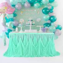 Tulle Table Skirt Tutu Tablecloth 6FT Turquoise Ruffle Table Skirting for Parties Wedding Birthday Baby Shower Table Skirt for Rectangle Tables Party Decorations