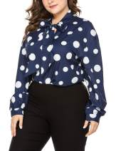 IN'VOLAND Women's Plus Size Blouse Bow Tie Neck Long Sleeve Polka Dot Shirt Chiffon Lantern Tops