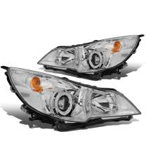 Replacement for 10-14 Outback/Legacy Pair Chrome Housing LED Clear Side Marker Projector Headlight/Lamps